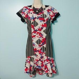 PETER PILOTTO High-Low Peplum Abstract Dress
